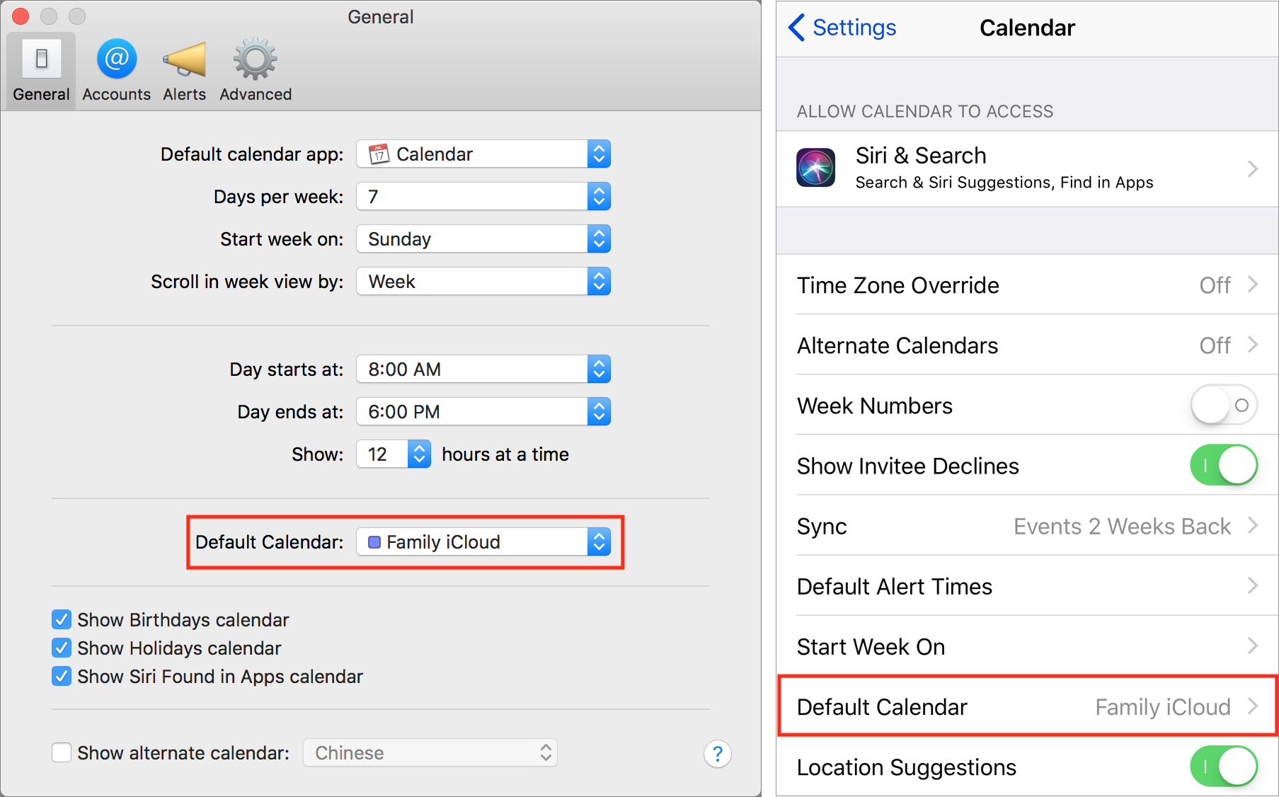 Set default calendars
