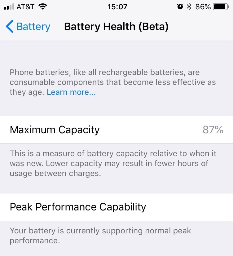 iOS 11.3 Battery Health