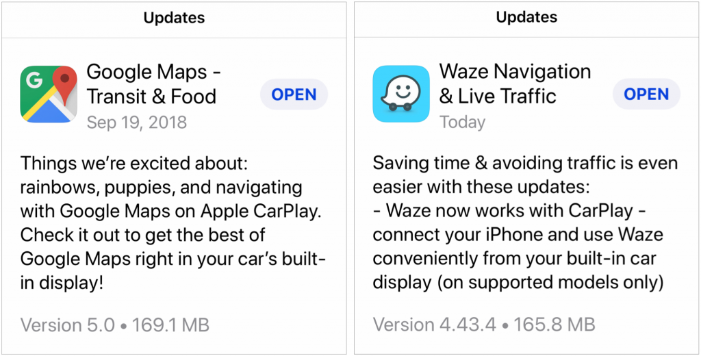 CarPlay iOS 12 GM Waze 1024x520