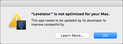 64 bit app Levelator warning