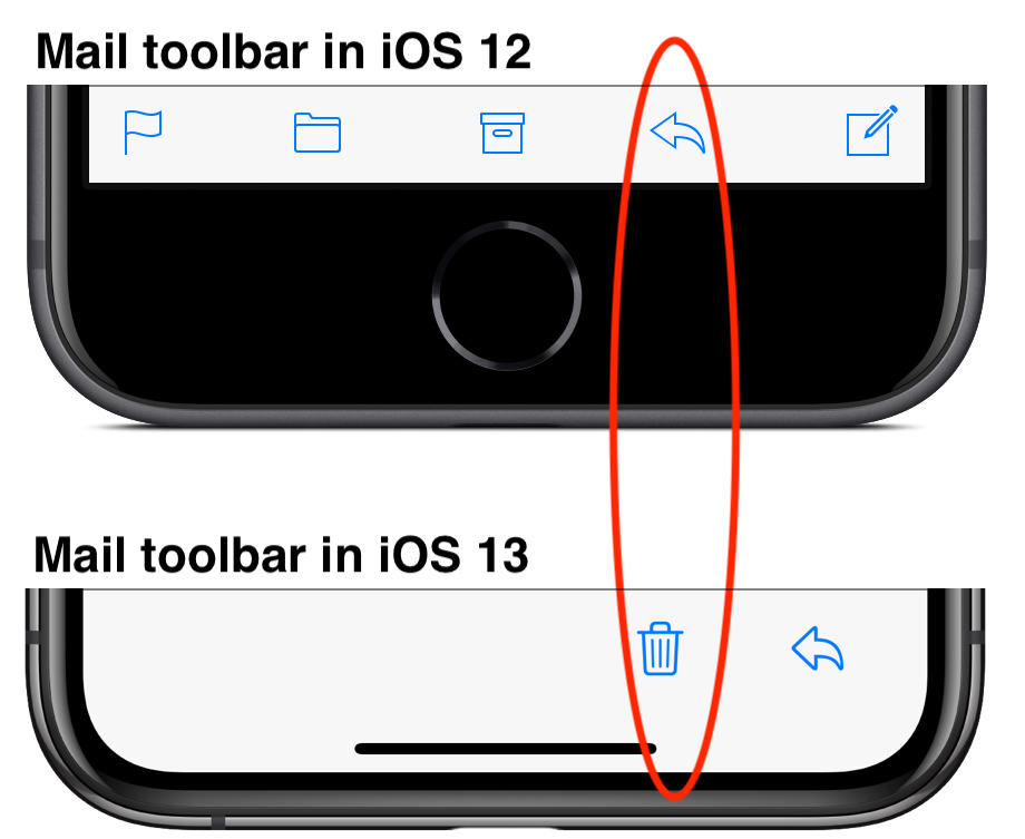 iOS 13 Mail Trash Reply buttons