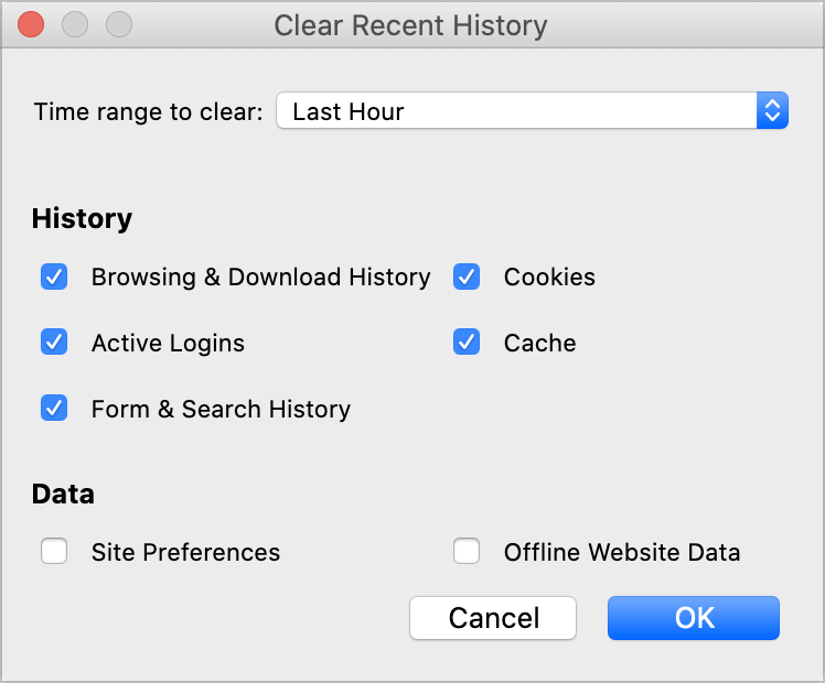Firefox clear history