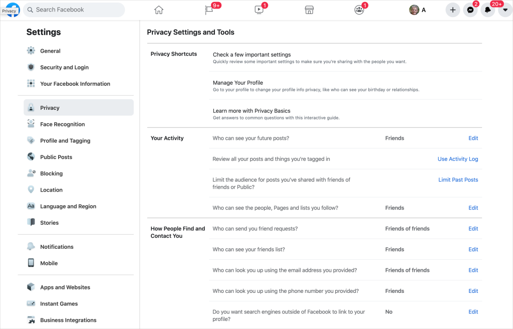 Facebook Privacy Settings page 1024x656