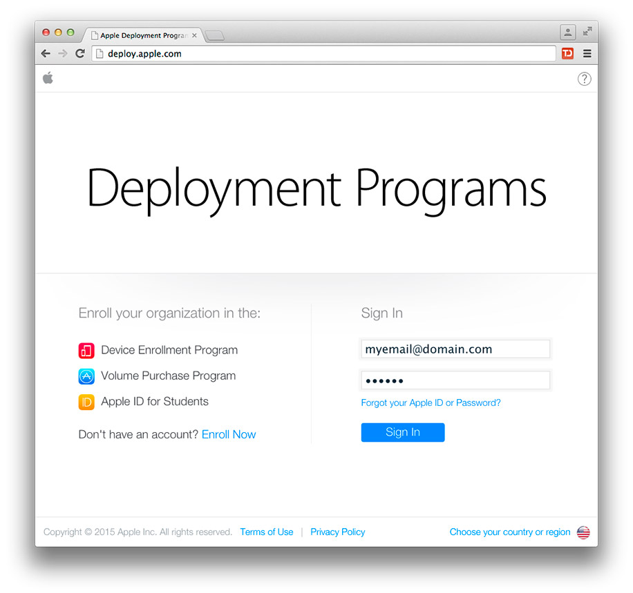Apple DEP Program Login Page