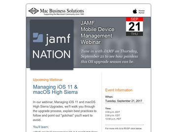 Mobile Device Management Webinar Opportunity with JAMF