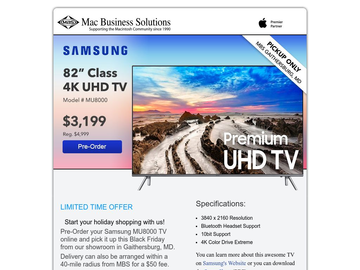 Early Black Friday Sale: 82-inch 4K Samsung TV $3,199 - Pre-Order Today!