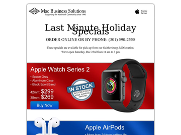 Apple Watch Series 2, AirPods and iPad mini 3 on Special at MBS