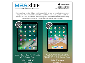 iPad Open Box Special from Mac Business Solutions